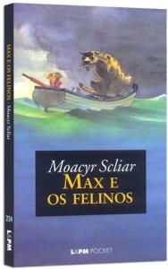 """Capa do Livro """"Max e os felinos"""" de Moacyr Scliar."""
